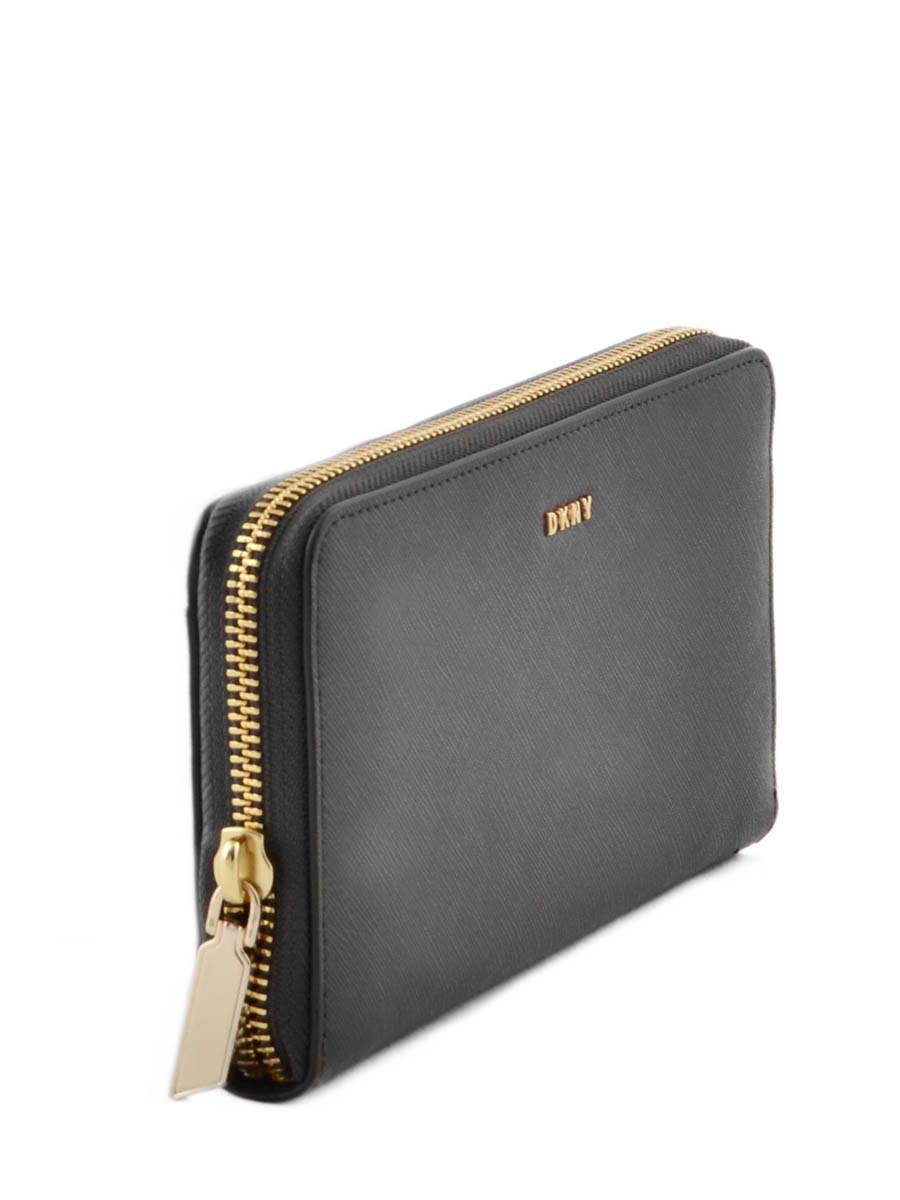 DKNY Tinky14 Zip Around Ladies Logo Print Blue Leather Wallet |Dkny Wallet