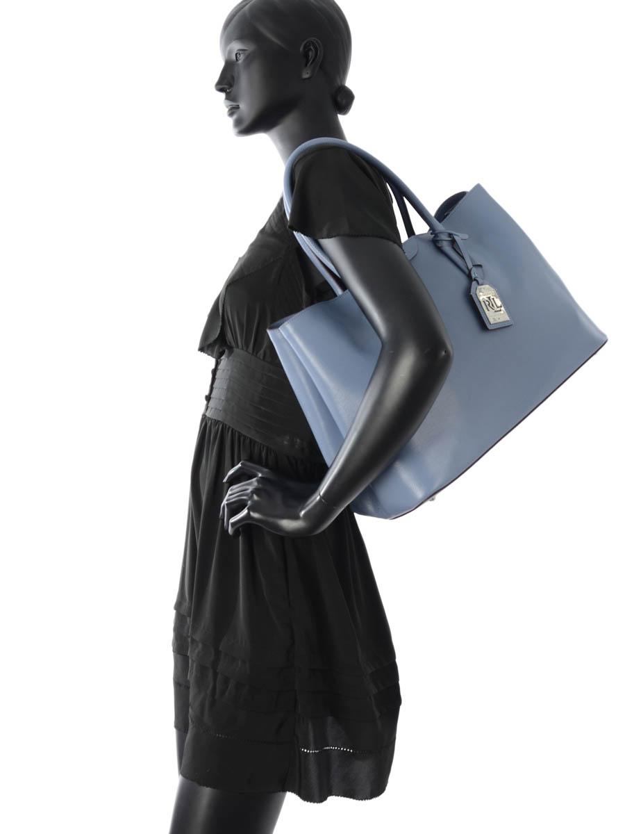 Cabas Tate Cuir Lauren ralph lauren Bleu tate N91L3366-vue-porte
