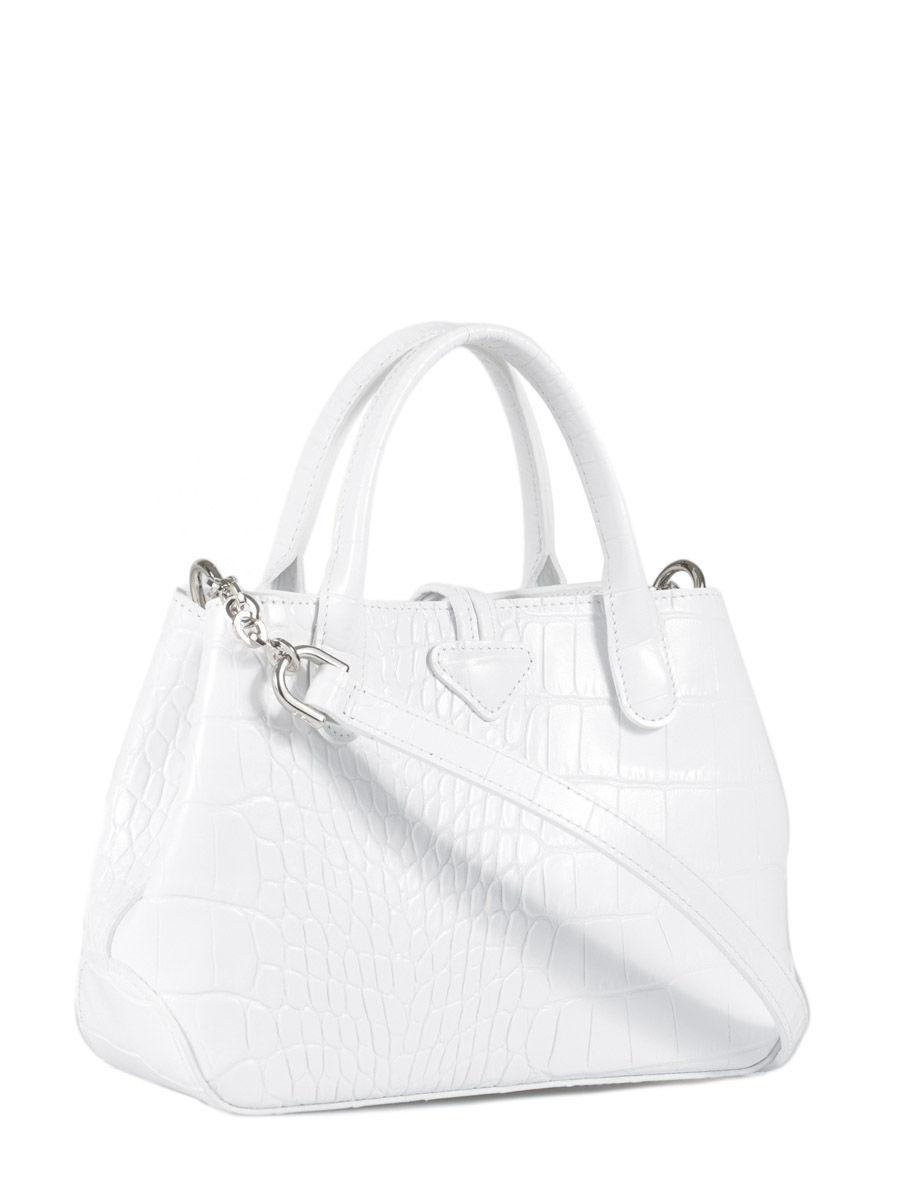 Sac Longchamp Roseau Porté épaule : Sac port travers longchamp roseau croco blanc en vente au