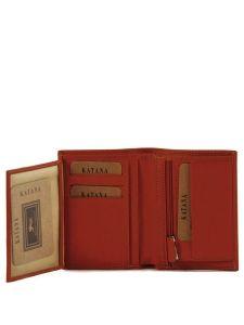 Wallet Leather Katana Red vachette gras 853046-vue-porte