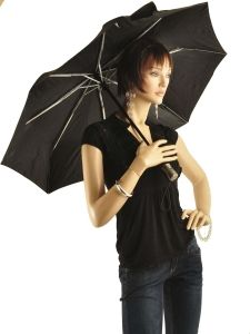 Umbrella Isotoner Black auto pliants 9406-vue-porte