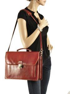 Briefcase 2 Compartments Milano Brown collet 819-vue-porte