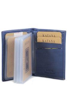 Porte-cartes Cuir Katana Bleu vachette gras 853038-vue-porte