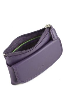 Purse Leather Petit prix cuir Violet supreme FA213-vue-porte