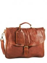 Serviette 1 Compartiment Cuir Cowboysbag Marron vegetal 1066
