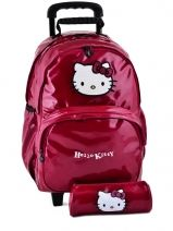 Sac A Dos A Roulettes+trousse Hello kitty Rose classic dot's HPR22080