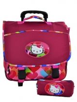 Cartable A Roulettes + Trousse Hello kitty Rose free bag's HPS23070