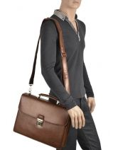 Briefcase 1 Compartment Etrier Brown 63039-vue-porte