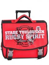 Cartable A Roulettes 2 Compartiments Stade toulousain Noir red and black 123T203R