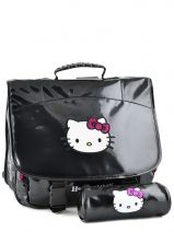 Satchel 2 Compartments With Matching Pencil Case Hello kitty Black classic dot