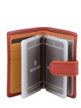 Card Holder Leather Hexagona Red multico 227375-vue-porte