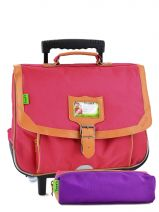 Cartable A Roulettes 2 Comp + Trousse Offerte Tann's Rose kid classic 14TCA38