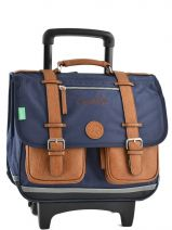 Wheeled Schoolbag 2 Compartments Cameleon Blue vintage 15V2CA38