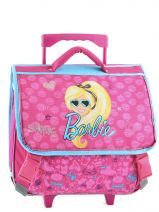 Cartable A Roulettes 2 Compartiments Barbie Rose time to shine B15T