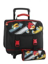 Cartable A Roulettes 2 Compartiments Angry birds Noir cartoon AHB13006