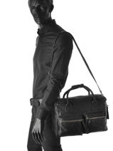 Briefcase 1 Compartment Legend Black vegetal ALABAMA-vue-porte