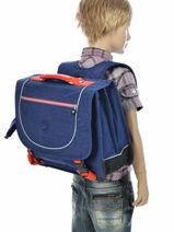 Satchel 2 Compartments Kipling Blue back to school 15078-vue-porte