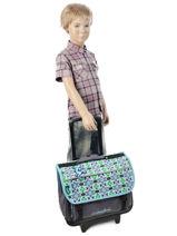Wheeled Schoolbag Cameleon Blue basic BASCA41R-vue-porte