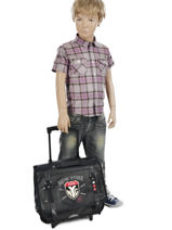 Wheeled Schoolbag 2 Compartments Ikks Gray nyc 5NYTCA38-vue-porte