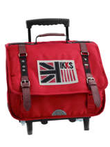 Cartable à Roulettes 2 Compartiments Ikks Rouge uk 5UKTCA38