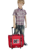 Wheeled Schoolbag 2 Compartments Ikks Red uk 5UKTCA38-vue-porte