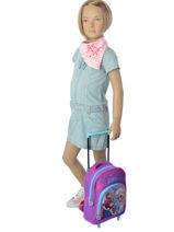 Wheeled Backpack 1 Compartment Frozen Violet christal 13421-vue-porte