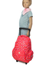 Wheeled Backpack With Free Pencil Case Roxy Red kid LBP03017-vue-porte