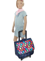 Wheeled Backpack 2 Compartments Miniprix Multicolor dot 16301-vue-porte