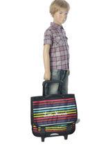 Wheeled Schoolbag 3 Compartments Little marcel Multicolor scolaire REWORK-vue-porte