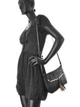 Shoulder Bag Pofo Leather Pieces Black pofo 17076420-vue-porte