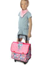 Wheeled Schoolbag 2 Compartments Teo jasmin Pink teo kawai TEN13019-vue-porte