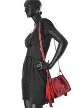 Sac Bandoulière Vintage Cuir Nat et nin Rouge vintage ANOUK-vue-porte