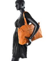 Shopper Depti Leather Pieces Brown depti 17077713-vue-porte