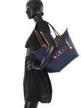 Longchamp Messenger bag Blue-vue-porte