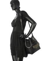 Crossbody Bag Studs Leather Lancaster Black studs 528-25-vue-porte