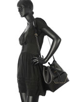 Crossbody Bag Pearl Leather Lancaster Black pearl 528-35-vue-porte