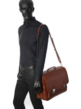 Briefcase 2 Compartments Arthur et aston Brown jasper 1589-15-vue-porte