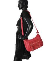 Shoulder Bag Avana Fuchsia Red avana F9657-5-vue-porte