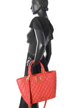 Cabas Super Quilted Love moschino Rouge super quilted JC4008PP-vue-porte