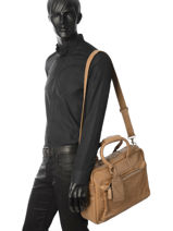 Briefcase 1 Compartment Cowboysbag Brown vegetal 1528-vue-porte