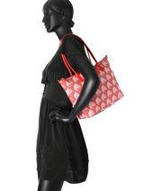 Shoulder Bag A4 Kba Imprime Lancaster Red kba imprime 517-09-vue-porte
