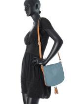 Hobo Bag  Leather Milano Blue 145-vue-porte