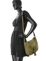 Shoulder Bag Velvet Leather Milano Green velvet VE160617-vue-porte