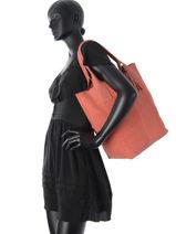 Cabas Velvet Stampa Cuir Milano Orange velvet stampa V2151102-vue-porte