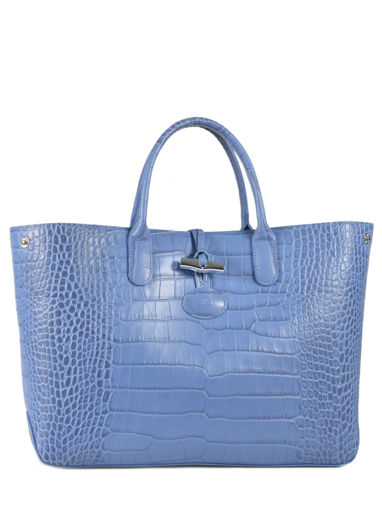 Longchamp Roseau Croco Handbag Blue