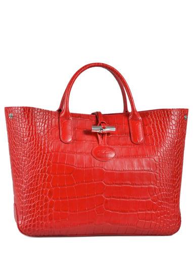 Longchamp Roseau Croco Handbag Red