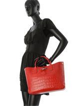 Longchamp Roseau Croco Sac porté main Rouge-vue-porte