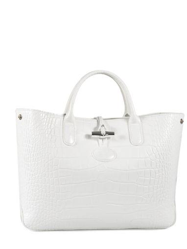 Longchamp Roseau Croco Handbag White