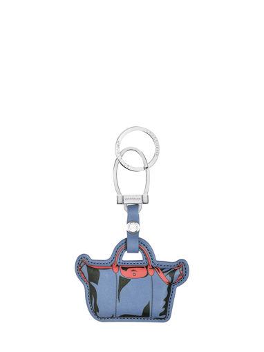 Longchamp Le pliage cuir Porte clés Bleu