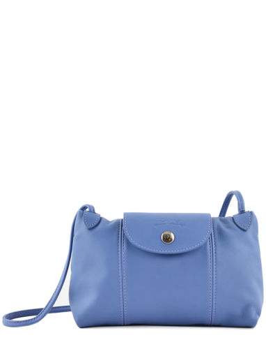 Longchamp Le pliage cuir Sac porté travers Bleu